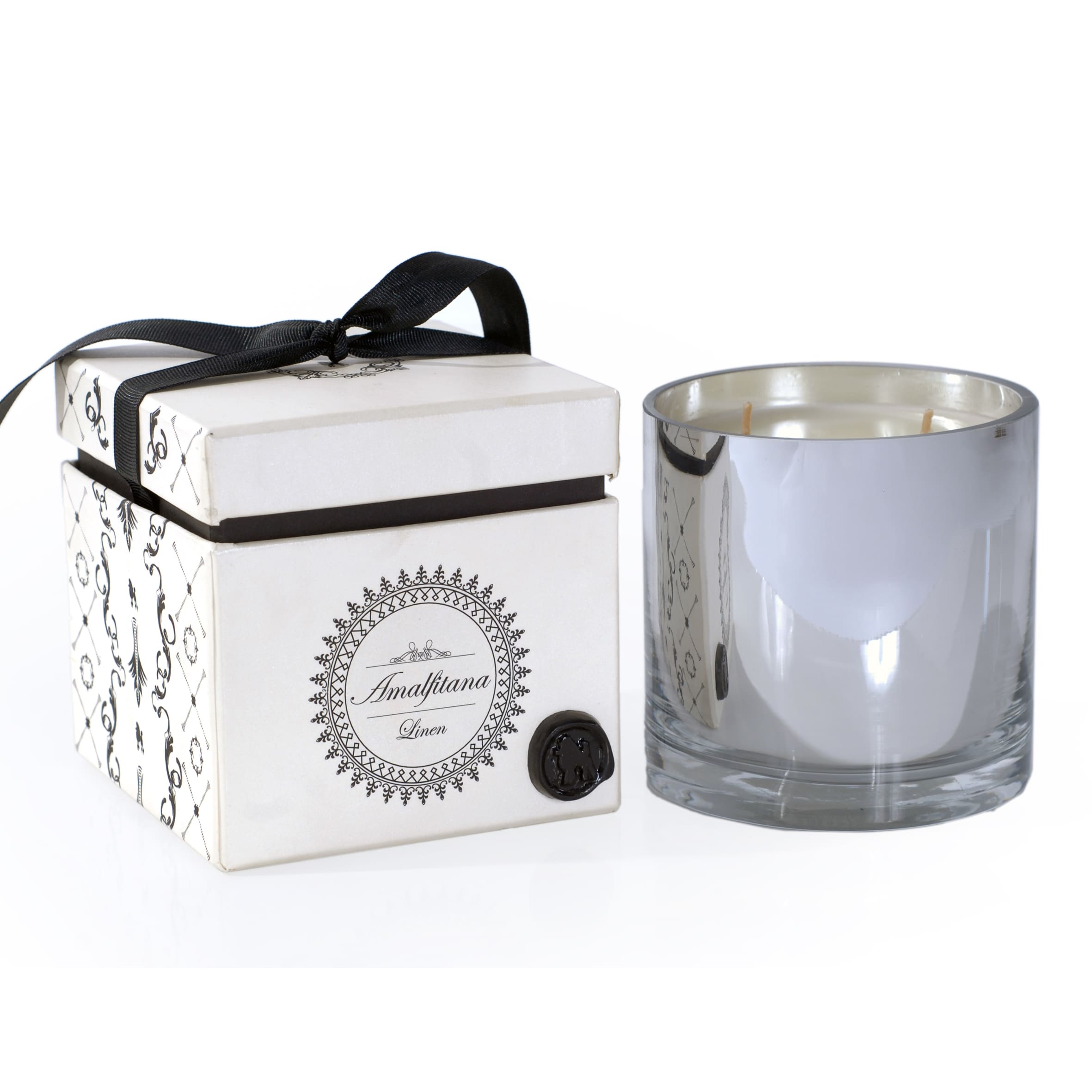 R 16 HOME Amalfitana Mercery Glass and Linen Wax Candle With Gift Box