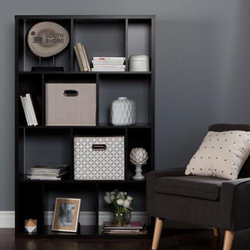 South Shore Reveal 12 Cubby Wood Bookcase in Chocolate with 2 Baskets