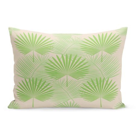 ECCOT Green Pattern Beige Floral Tropical Palm Leaves Colorful Vintage Pillowcase Pillow Cover Cushion Case 20x30 inch