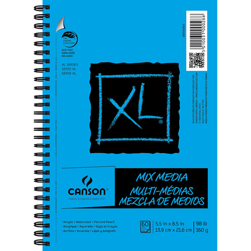 "Canson XL Mix Media 5.5"" x 8.5"" 50 Sheet Pad, 1 Each"