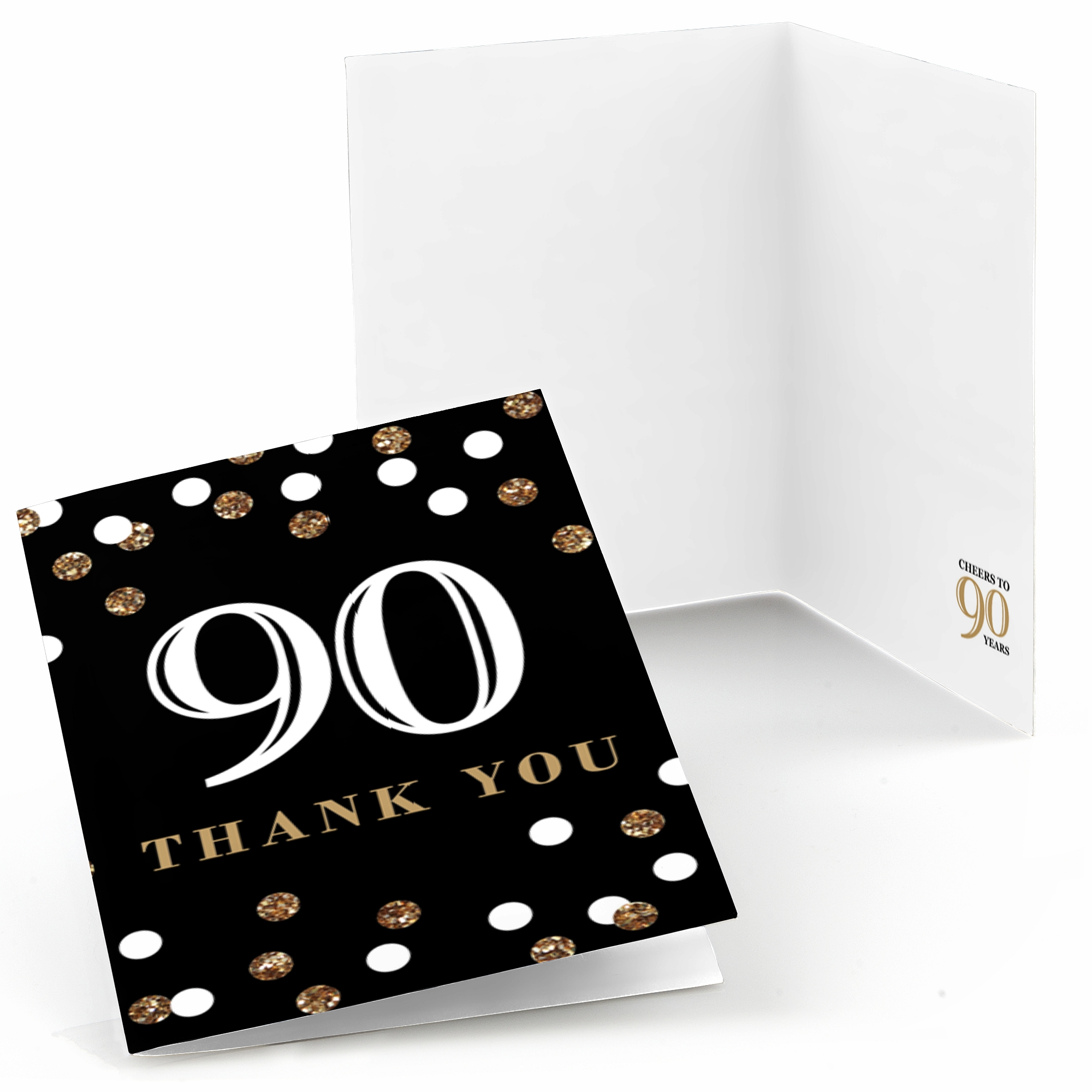 Adult 90th Birthday - Gold - Birthday Party Thank You Cards (8 count)