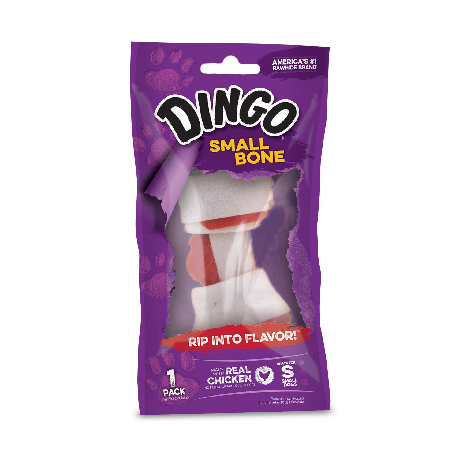 Dingo Real Meat and Rawhide Chew Dog Treats, 1.4-Ounces
