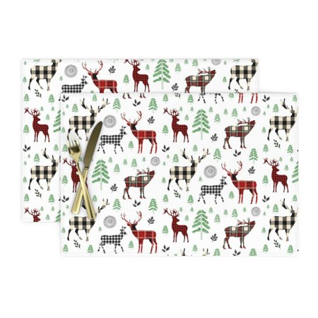 Image of Cloth Placemats Woodland Plaid Deer Winter Red Black Boys Set of 2