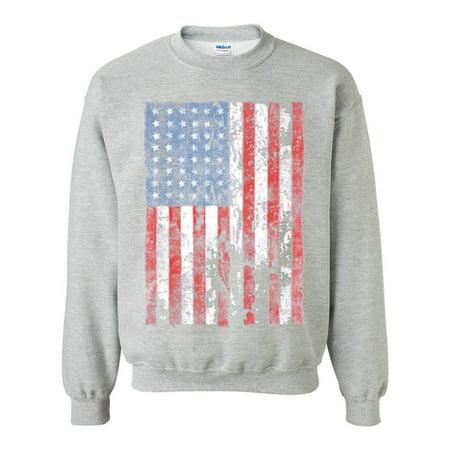 8b888ce3782 Custom Apparel R Us - Distressed American Flag USA Patriotic Clothing Unisex  Crewneck Sweatshirt - Walmart.com