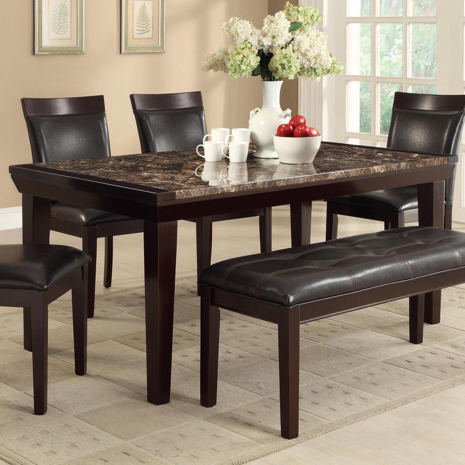 marble top dining table espresso search