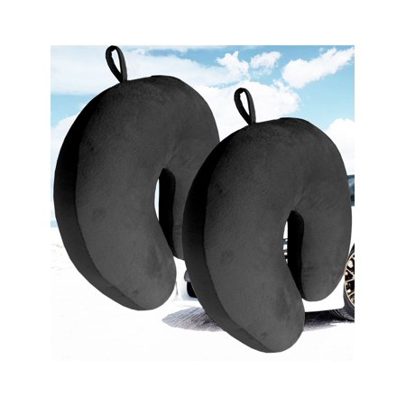 Bookishbunny 2 Pack Ultralight Micro Beads U Shaped Neck Pillow Travel Head Cervical Support Cushion Black