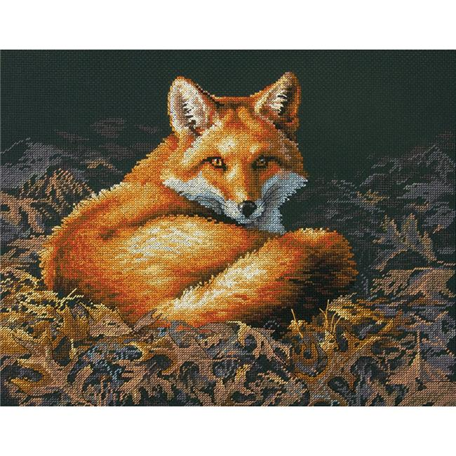 14 x 11 in. Counted Cross Stitch Kit - Sunlit Fox - 14 Count