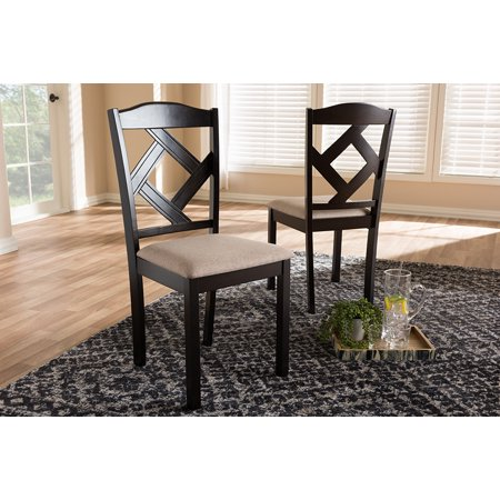 Strange Set Of 2 Baxton Studio Ruth Modern And Contemporary Beige Fabric Upholstered And Dark Brown Finished Dining Chair Set Bralicious Painted Fabric Chair Ideas Braliciousco
