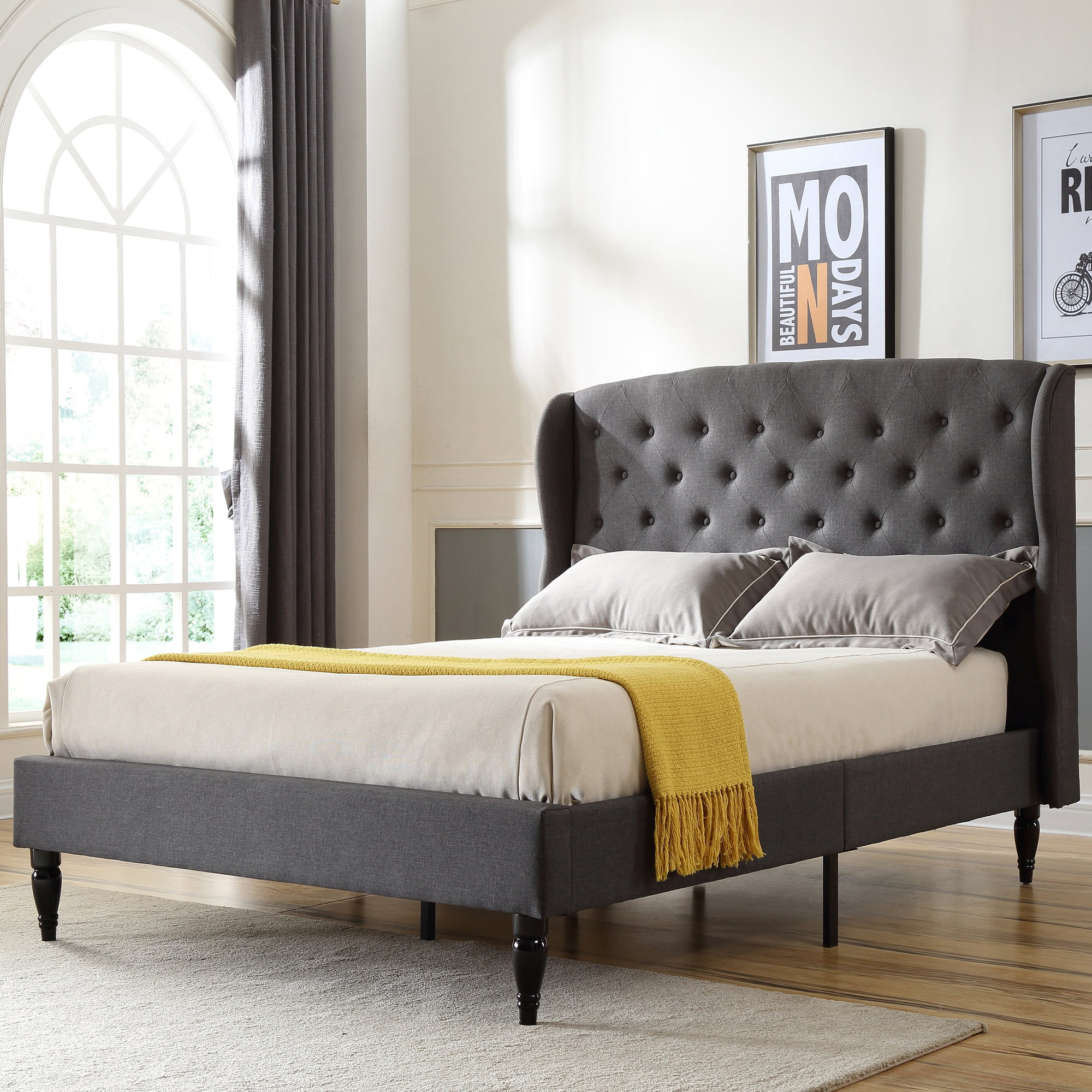 Modern Sleep Coventry Upholstered Platform Bed Headboard And Metal Frame With Wood Slat Support Multiple Sizes Available In Linen Light Grey And Grey Walmart Com Walmart Com