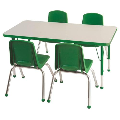 5-Pc Rectangular Activity Table and Chair Set in Gray and Green (Toddler: 48 in. W x 24 in. D x 15 in. - 23 in. H)