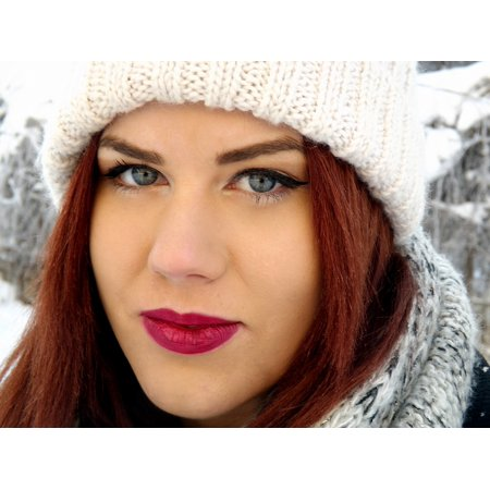 LAMINATED POSTER Beauty Girl Winter Red Hair Fashion Blue Eyes Poster Print 24 x (Girl With Red Hair And Blue Eyes)