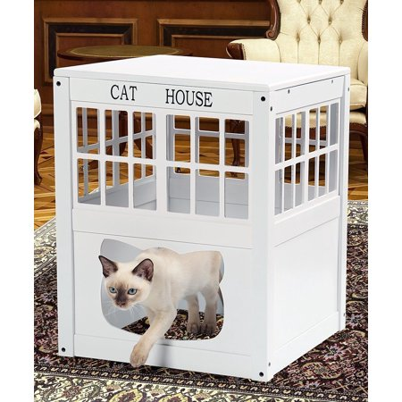 Cat Washroom Litter Box Cover / Night Stand Pet House, White Kitty Hide Away End Table