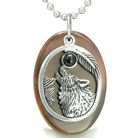 Amulet Courage Howling Wolf Moon Red Tiger Eye and Simulated Black Onyx Pendant 18 Inch Necklace - Wolf Pendant