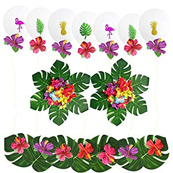 Beach Themed Birthday (Hawaii Tropical Themed Party Supplies, 24 Pcs Hot Tropical Artificial Flowers and 30 Pcs Leaves Flamingo Latex Balloons Decoration Kit for Hawaii Luau Summer Beach Garland Birthday Party)