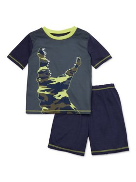 Komar Kids Boys 4-16 Short Sleeve Top with Shorts, 2-Piece Pajama Set
