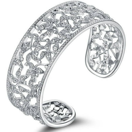 Diamond Accent 18kt White Gold-Plated Filigree Leaf Cuff Bangle