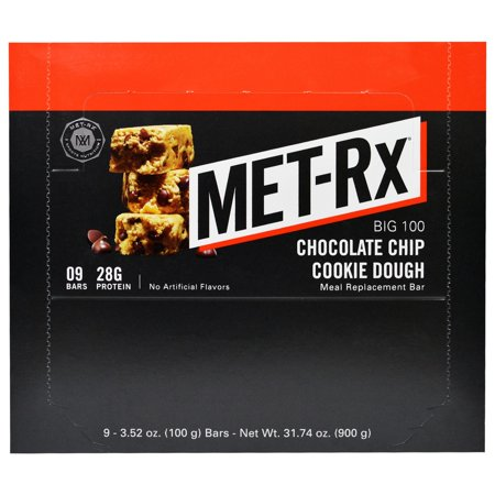 Met Rx  Big 100  Meal Replacement Bar  Chocolate Chip Cookie Dough  9 Bars  3 52 Oz  100 G  Each Pack Of 3