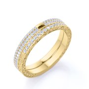 .75 ct - Round Pave Set - Real Diamond Anniversary Bands - Vintage - Stackable Diamond Rings - 10K Yellow Gold