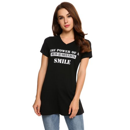 Big sale!Casual Short Sleeve Women V Neck Letter Print Pullover Long T-Shirt (Short Hairstyles For Women With Big Ears)