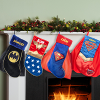 Product Image Superman, Supergirl, Batman or Wonder Woman Personalized Christmas Stocking
