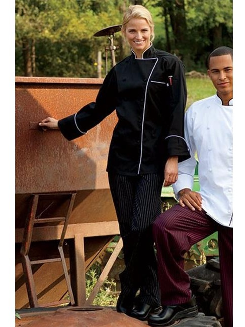Yarn Dyed Baggy Chef Pant in Black and White Pinstripe - XLarge