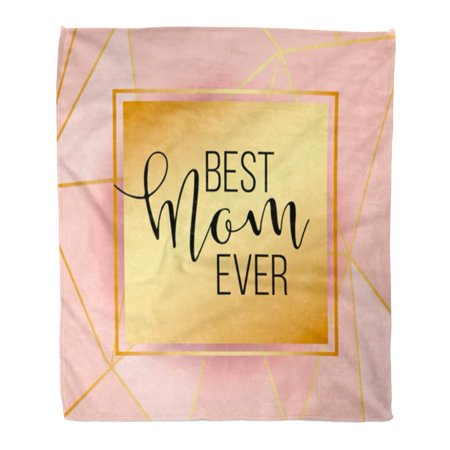 SIDONKU Flannel Throw Blanket Rose Best Mom Mum Ever Pink Gold Lines Elegant Soft for Bed Sofa and Couch 58x80