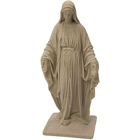 "EMSCO Virgin Mary Statue – Natural Sandstone Appearance – Made of Resin – Lightweight – 34"" ()"