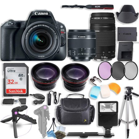 Canon EOS Rebel SL2 DSLR Camera with Canon 18-55mm STM & Canon 75-300mm III Lens Kit + 0.43x Wide Angle Lens + 2x Telephoto Lens + 32GB SD Card + HD Filter Kit + Flash Diffusers + Accessory