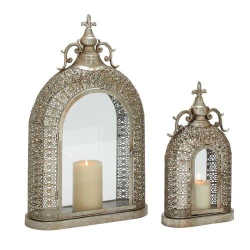 Woodland Imports 2 Piece Metal Glass Lantern Set by Benzara Inc