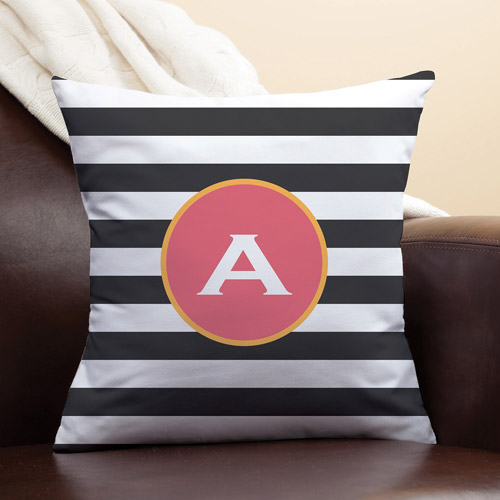 Personalized Black and White Stripes Pillow