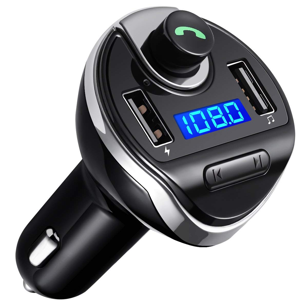 Bluetooth FM Transmitter, Jelly Comb Wireless In-Car FM Transmitter Radio Adapter Car Kit, Universal Car Charger with Dual USB Charging Ports, Hands Free Calling for iPhone, Samsung, etc (Black)