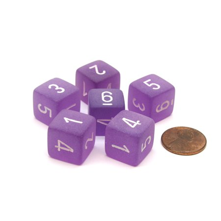 Frosted 15mm 6 Sided D6 Chessex Dice, 6 Pieces - Purple with White Numbers