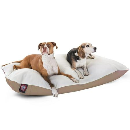 Majestic Pet Solid Color Rectangular Pillow Dog Bed Machine Washable Khaki X-Large 42u0022 x 60u0022 x 8u0022
