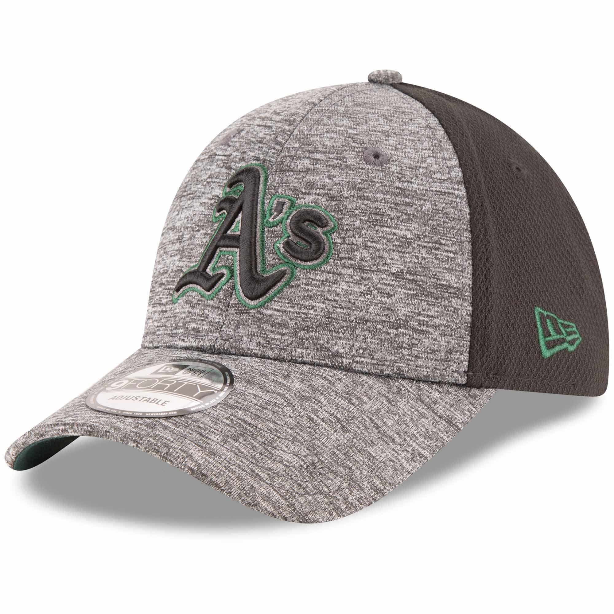 Oakland Athletics New Era Shadowed Team Logo 9FORTY Adjustable Hat - Heathered Gray/Black - OSFA