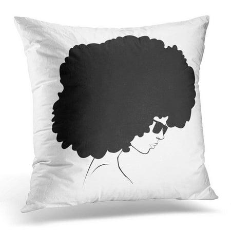 USART Black Afro Profile Silhouette of Girl Women Pillows case 20x20 ... ba1c26488
