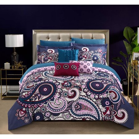 Chic Home Taro 10 Piece Reversible Comforter Set Bed In A Bag Bohemian Inspired Paisley Print Contemporary Geometric Pattern Bedding With Sheet Set Decorative Pillows Shams Included  King Blue
