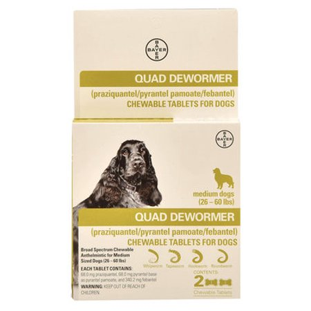 Quad Dewormer Chewable Tablets for Dogs - Medium Dog Quad Dewormer (2 pack)
