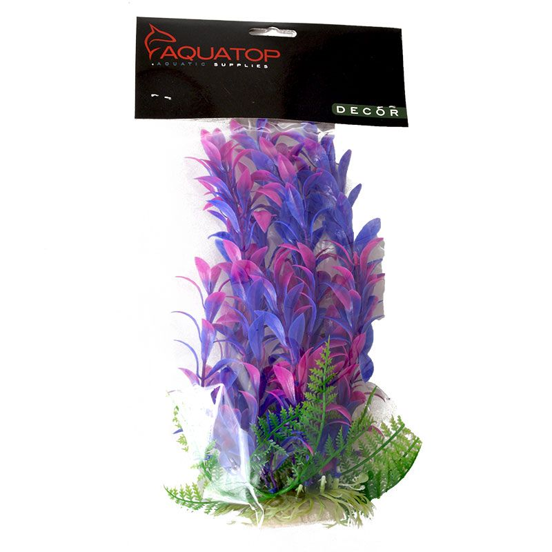 Aquatop Hygro Aquarium Plant - Pink & Purple 9 High w/ Weighted Base - Pack of 6