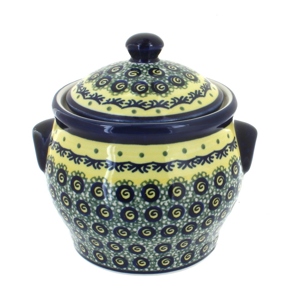 Blue Rose Polish Pottery Renaissance Small Canister