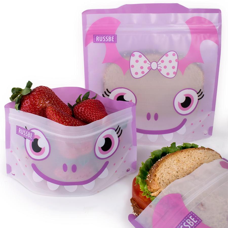 Set of 4 Russbe Reusable Snack & Sandwich Bags -Purple Monster