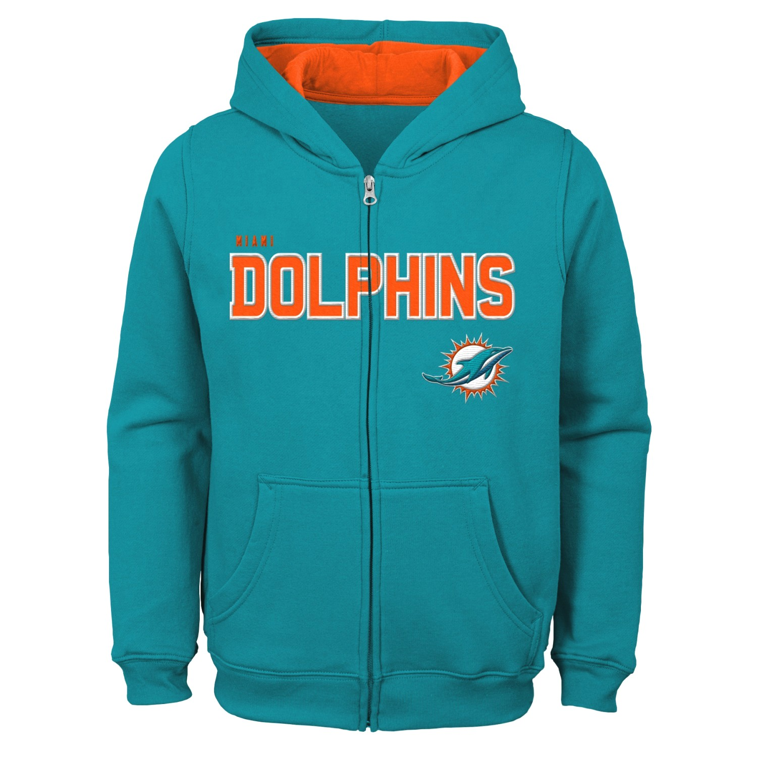 """Miami Dolphins Youth NFL """"Game Stated"""" Full Zip Hooded Sweatshirt"""