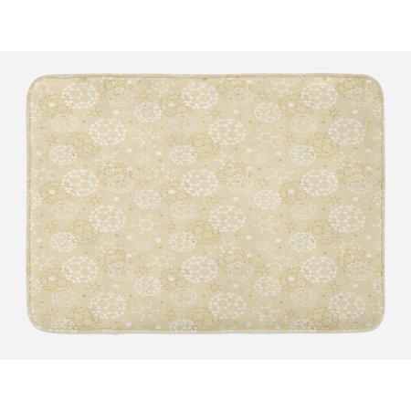 Ivory Bath Mat, Science Molecules Motif Chemical Bonds Circular Atoms in Soft Toned Form Design, Non-Slip Plush Mat Bathroom Kitchen Laundry Room Decor, 29.5 X 17.5 Inches, Cream White, (Structure Of Atoms Molecules And Chemical Bonds)