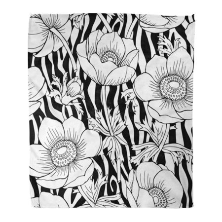 ASHLEIGH Throw Blanket Warm Cozy Print Flannel Floral Zebra with Flowers Black White Cute Tropical Abstract Beautiful Comfortable Soft for Bed Sofa and Couch 50x60 Inches (Zebra Print Cozy Cover)