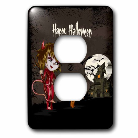 3dRose Happy Halloween Devil Girl Trick Or Treating Haunted House Spooky Halloween Scene - 2 Plug Outlet Cover (lsp_129770_6) - Happy Halloween Trick Or Treating