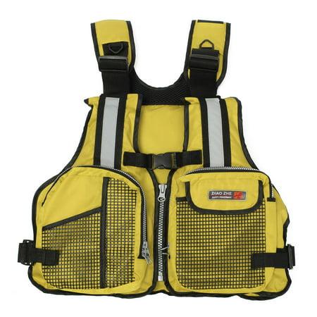 Grtsunsea Adult Universal Adjustable Fishing Life Jacket Boating Kayaking Watersports Life Vest with Multi-Pockets and Reflective Stripe