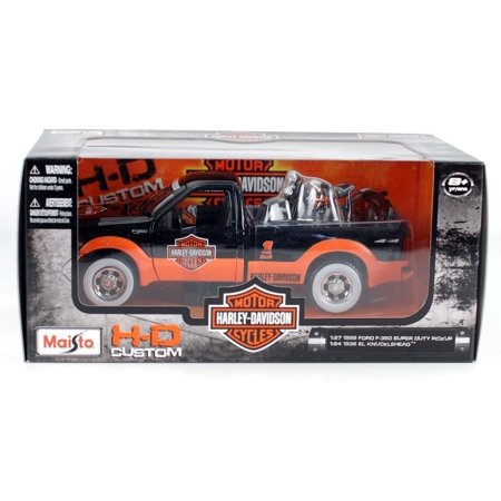 1999 F-350 Super Duty Pickup & 1936 El Knucklehead 1:24 Scale (Black/Orange), Official Licensed Product By