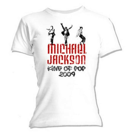 Michael Jackson - Graffiti Juniors Babydoll White T-Shirt (Michael Jackson Sequin Shirt)