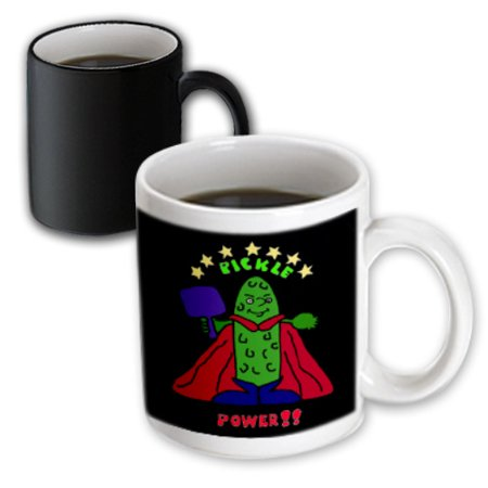 3dRose Funny Pickleball Super Hero Cartoon Pickle, Magic Transforming Mug, - Superhero Cups