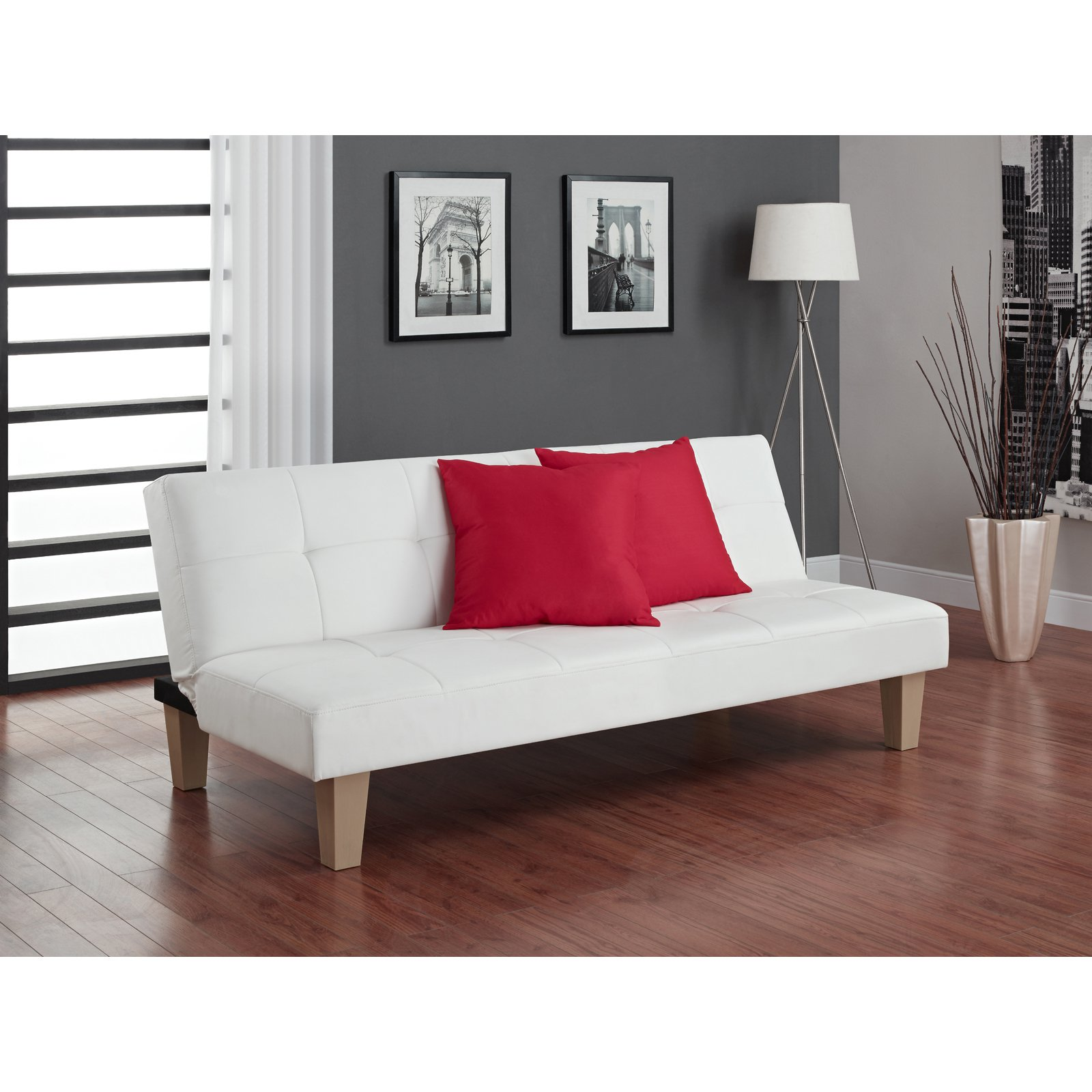 DHP Aria Futon Sofa Bed, White Faux Leather Upholstery