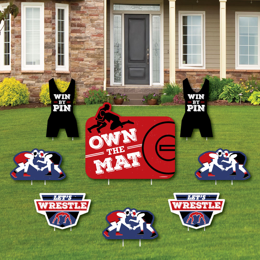 Own The Mat Wrestling Yard Sign Outdoor Lawn Decorations
